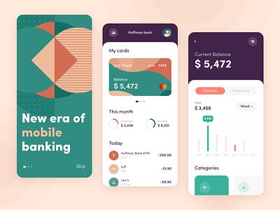 Hoffman Bank - Mobile app concept application illustration fintech finance banking bank clean mobile ux ui figma modern interface palette pattern art app concept arounda