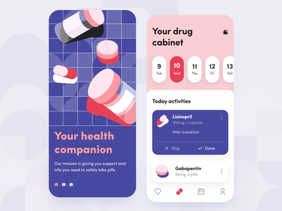 Medicine Reminder - Mobile app concept golden grid design concept ios ui ux application figma schedule notifications planner reminder pills drugs pharmacy medicine health illustration mobile arounda