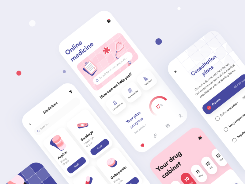 Online Medicine - Mobile app golden grid design concept ios ui ux application figma schedule notifications planner reminder pills drugs pharmacy medicine health illustration mobile arounda