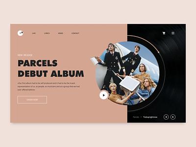 Parcels Album - Vinyl shop release concept golden grid design home page hero web design sketch landing interface player vinyl vintage band musical music ux ui shop web concept arounda