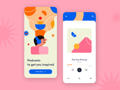 Podcast Streaming - Mobile app concept abstract application design onboarding music player podcast palette creative illustration interface figma ui ux app mobile concept arounda