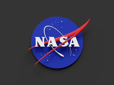 Nasa logo 3D makeover gravity space nasa blue branding logo loop colorful animation simple blender 3d