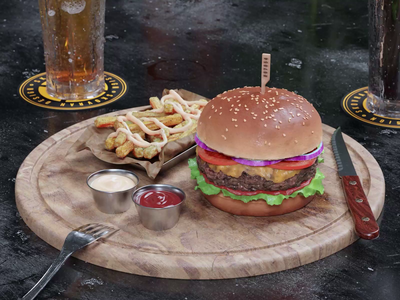 Burger 3D procedural photoshop cycles still life realism food burger detailed animation blender 3d