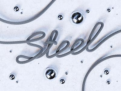 Steel works design 3d artist 3d art artwork art concept advertising shiny material design script font script steel texture material detailed blender 3d