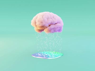 Brainstorming dreamy brainstorming brainstorm colorful puddle rain brain cloud illustration branding loop simple concept blender 3d
