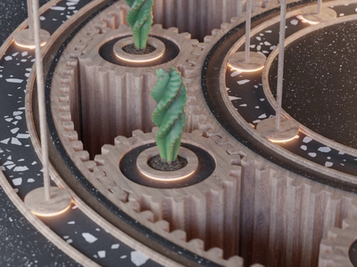 Gear Thingy smooth satisfactory satisfaction warm abstract sound design music cactus loop animation colorful blender 3d
