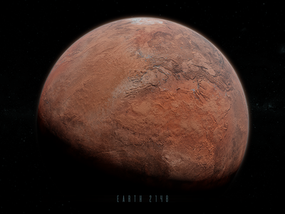 If Earth was Mars red planet red concept 3d blender cosmolgy astronomy space dry water mars planet earth