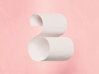 B + Paper Sheet concept design illustration detailed simple logo colorful 3d blender