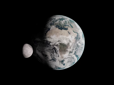 Earth and Moon orbit earth moon space art space fantasy loop animation concept blender 3d