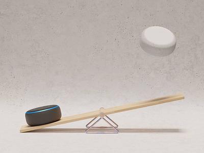 Alexa Playground playground playtime balance seesaw amazon echo dot loop simple animation concept blender 3d