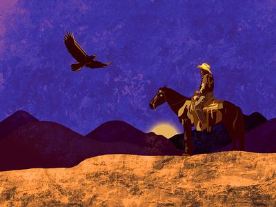 Cowboy shading graphic illustration tones dark moody texture adobe procreate
