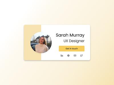 Contact card 👋 digitalart designer uiuxdesign ui minimal colour yellow cardcomponent figma skillbuilding portfolio uidesign shiftnudge