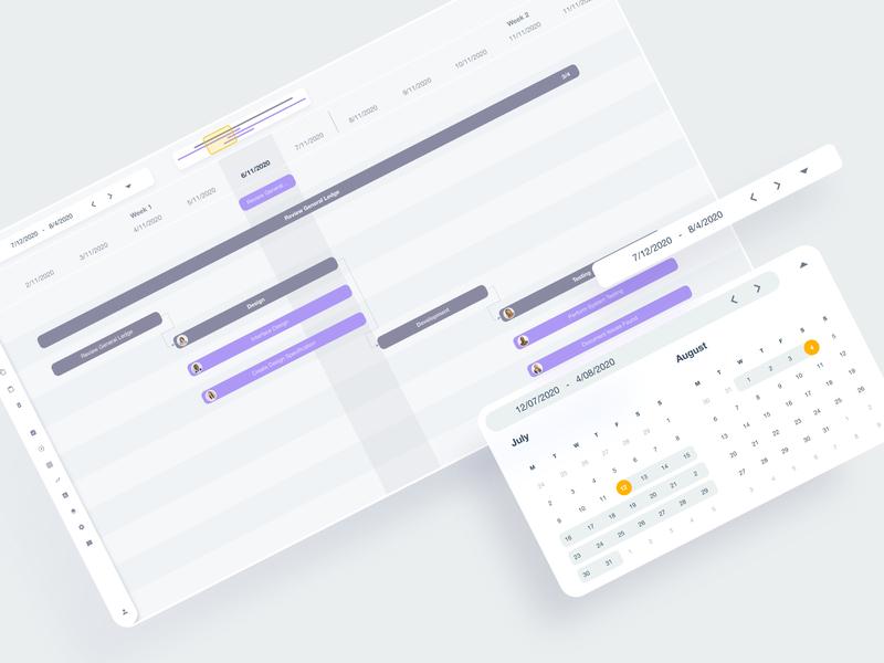 Gantt chart with members' assignments flow diagram design desktop app calendar ui calendar web ui chart gannt chart gantt