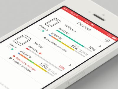Device Central ios7 iphone device design app ipad info battery storage ios 7 ui