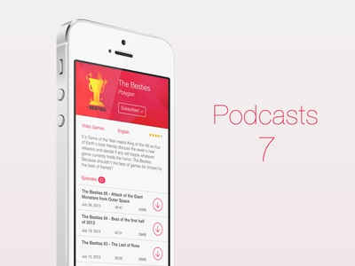 Podcasts for iOS7 ios7 iphone podcasts app ui design music discovery ios 7 ios