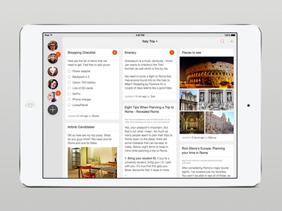 Project Collab app ui design minimal ios social feed project ios7 ipad