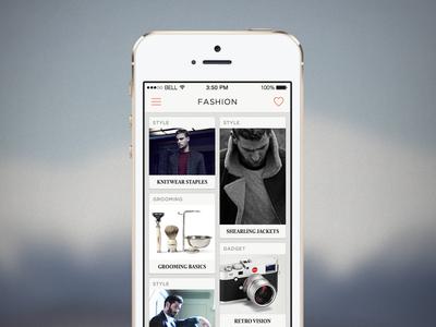 Fashion Feed app ui design minimal ios feed ios7 fashion clean sketch sketch app