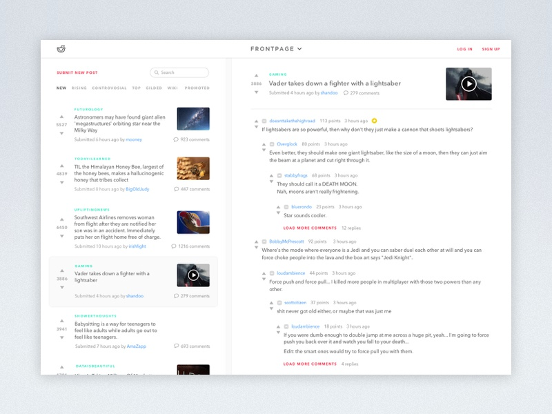 Minimal Reddit share article comment feed news ux ui reddit