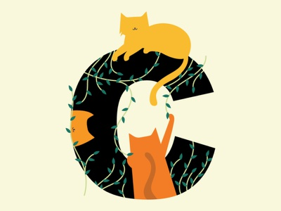 Cats on C letterc letter 36daysoftype minimal creative design vector illustration