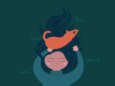 Lying on Grass vector illustration night sleeping girl illustration cat