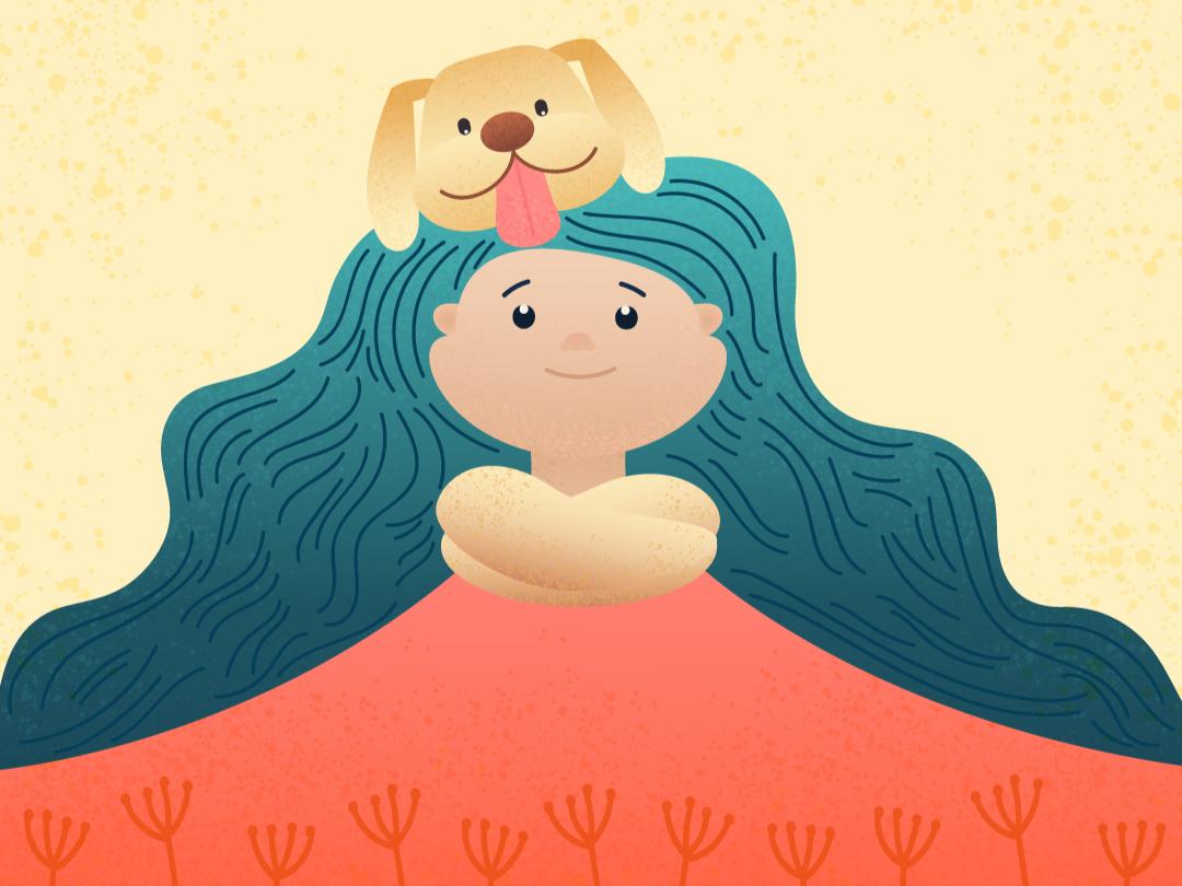 Best Friends digital art friendly animal girl character girl with dog dog illustration merchandise design vector design illustration creative