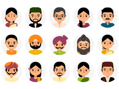 Faces minimal vector people icons icons icon set avatars avatar design character design indian languages indian multilingual faces avatar icons characters creative illustration