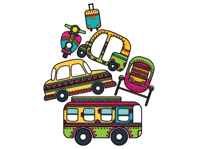 Travel on Your Mind? vehicle art vehicle design indian vehicles colourful travelling vector design pattern art concept art illustration creative transport travel