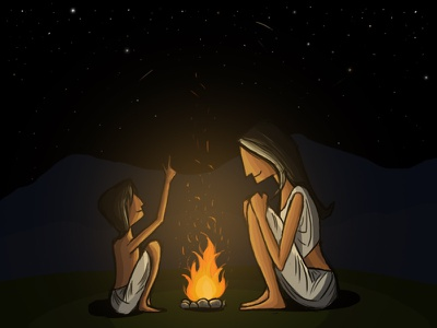 Story-telling digital painting photoshop digital art nature mother and son fire stars night sky storytelling child mother