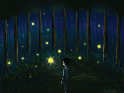 Dreaming photoshop concept art dark theme boy character magical glowing forest night dreaming boy digital art