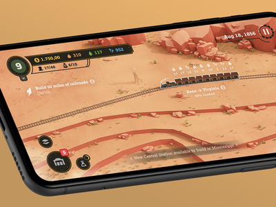 The Railroad to the West blender3d 3d blender railroad illustration icon game interface mobile game wildwest american west train tycoon video game game ui railway