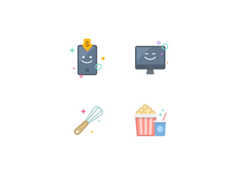 Icons computer smartphone kitchen movie interface app icons