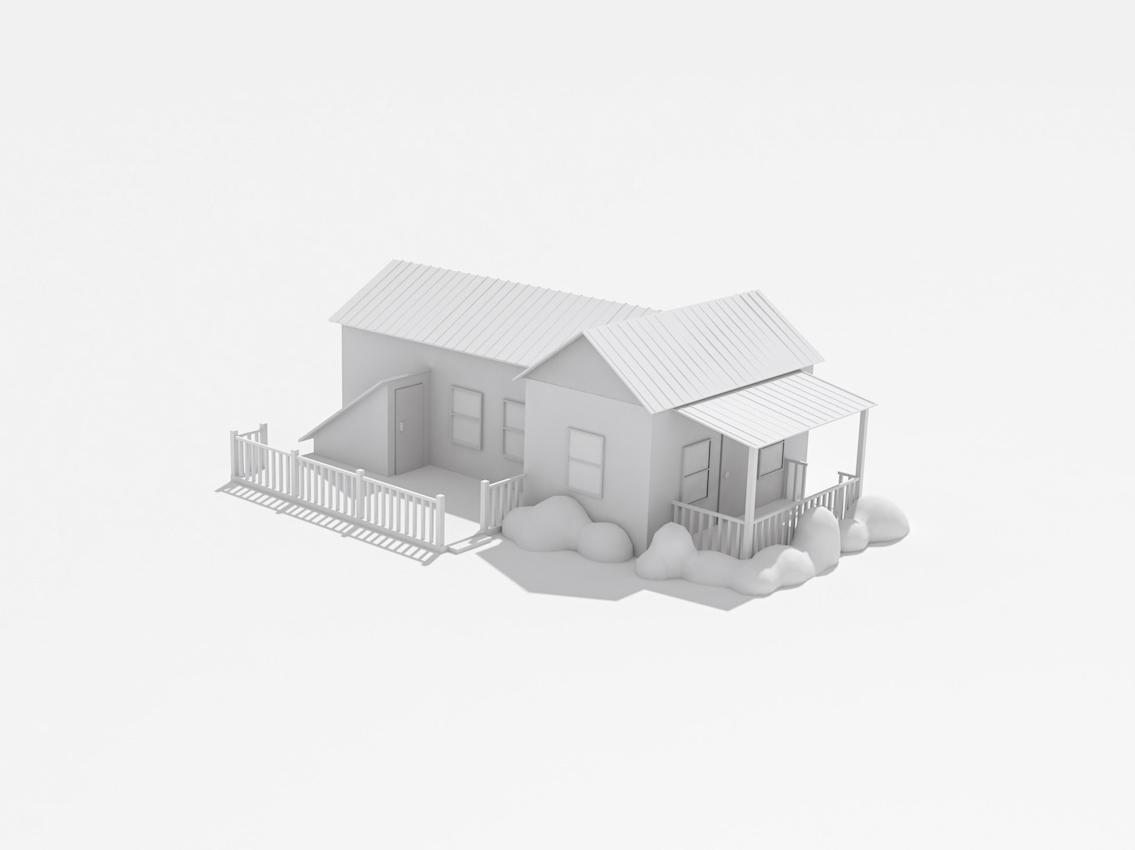 Home monochrome simple architecture c4d modeling cinema 4d illustration