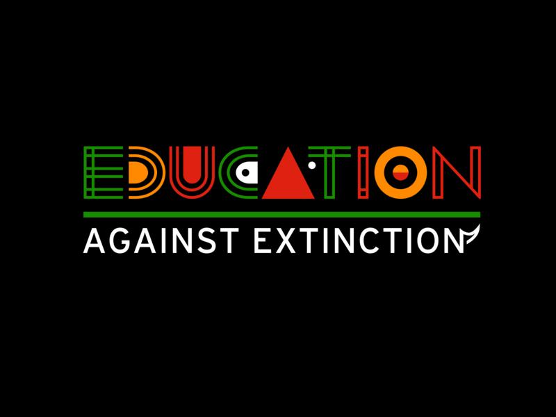 Logotype for Save the Rhino Education logo illustration bold colourful typography