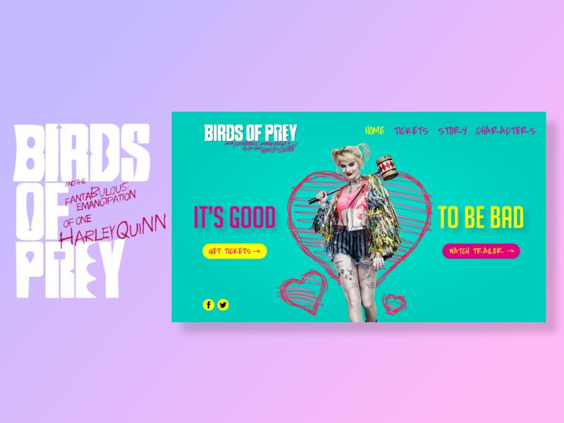 Birds of Prey Landing Page Design character color superhero birds of prey harley quinn dccomics dc marvel superheroes ui photoshop application webdesign ux design adobexd