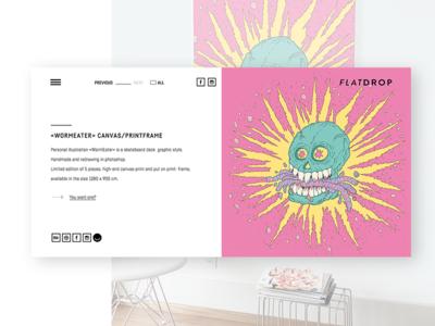 Flatdrop Website — project detail-view website skull illustration web shop minimal light design ux ui
