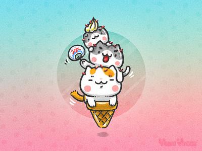 Meows Cream ~ ice cream summer illustration comic cute kitty cat yomiyocai