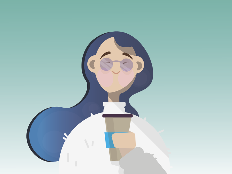 Happy coffee time glasses blue sweater coffee girl abstract adobe illustration adobe illustrator illustration art
