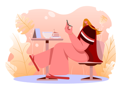 Morning routine woman dribble design uiux character food girl app mobile abstract inspiration art digital interface graphic design vector illustration adobe photoshop adobe illustrator
