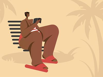 On the Beach chill bodypositive nature web design creative girl illustration summer inspiration uiux adobe photoshop design dribbble digital app abstract graphic design art vector illustration adobe illustrator
