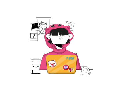 Work with love coffee cat stay home happy minimal digital graphic design abstract dribble girl flatdesign creative app art vector chill character illustration