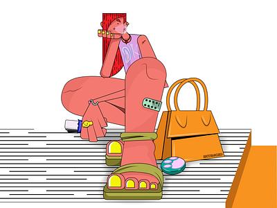 Color Life paint digital art multicolor presents spring fashion uiuxdesign dribbble inspiration vector graphic design bags look girl abstract colors flatlay art illustration adobe illustrator