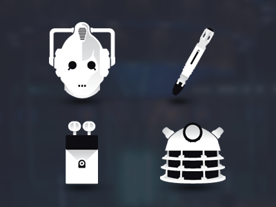 Doctor Who Icons icons doctor who grayscale flat cyberman sonic screwdriver k9 dalek
