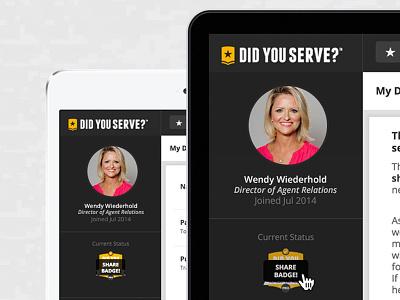 Dashboard Profile dashboard profile share badge ui gold yellow gray