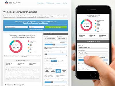 Mortgage Calculator dropdown form lead form sliders donut chart va mortgage va loan va mortgage calculator