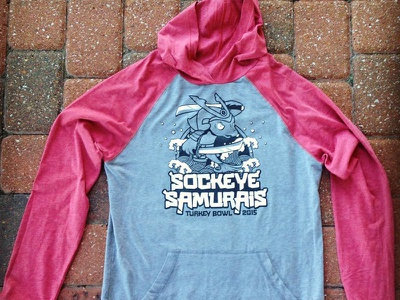 VU Turkey Bowl 2015 Final hoodie raglan veterans united turkey bowl sword sockeye samurais samurai japanese fish apparel shirt