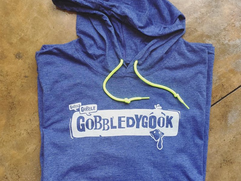 Gobbledygook - Fun(ny) Tee for Turkey Bowl '16 turkey neon blue shirt gobbledygook gobble apparel