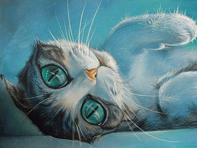 hypno-cat illustration cat blue repose eyes kitty enjoy moscow