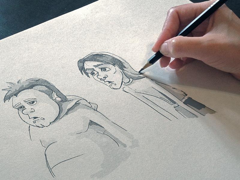 Sketch Chupa comics sketch illustration hero character personage pencil drawing pencilling moscow