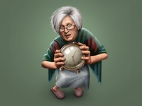 When granny can't sleep cartoon comical character personage person actor comedian granny sleeps old aged alarm clock