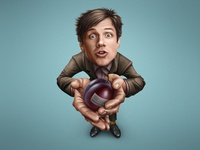 Plum merry caricature cartoon funny comical character personage person actor comedian plum fruit single